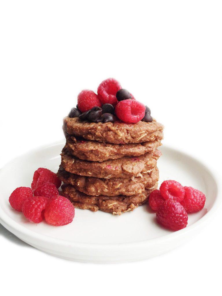 Flourless Chocolate Raspberry Pancakes by rachLmansfield