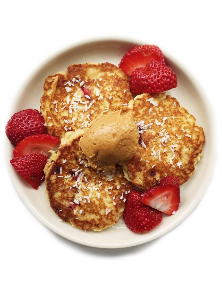 Fluffy Strawberry Coconut Paleo Pancakes by rachLmansfield