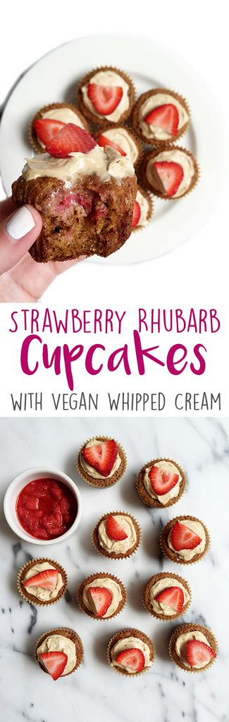 Strawberry Rhubarb Cupcakes topped with a Homemade Vegan Whipped Cream by rachLmansfield
