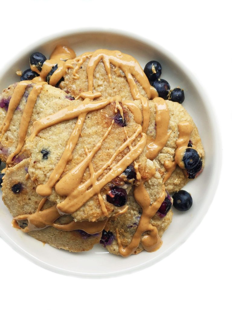 Flourless Vegan Blueberry Lemon Pancakes by rachLmansfield