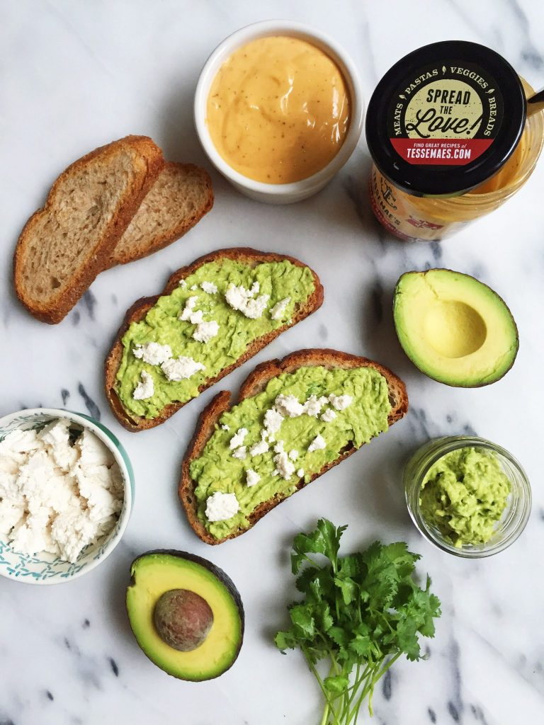 Open-Faced Avocado Grilled Cheese Sandwich