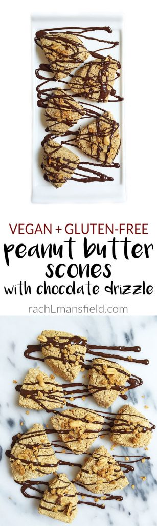 Vegan Peanut Buttery Scones with Chocolate Drizzle