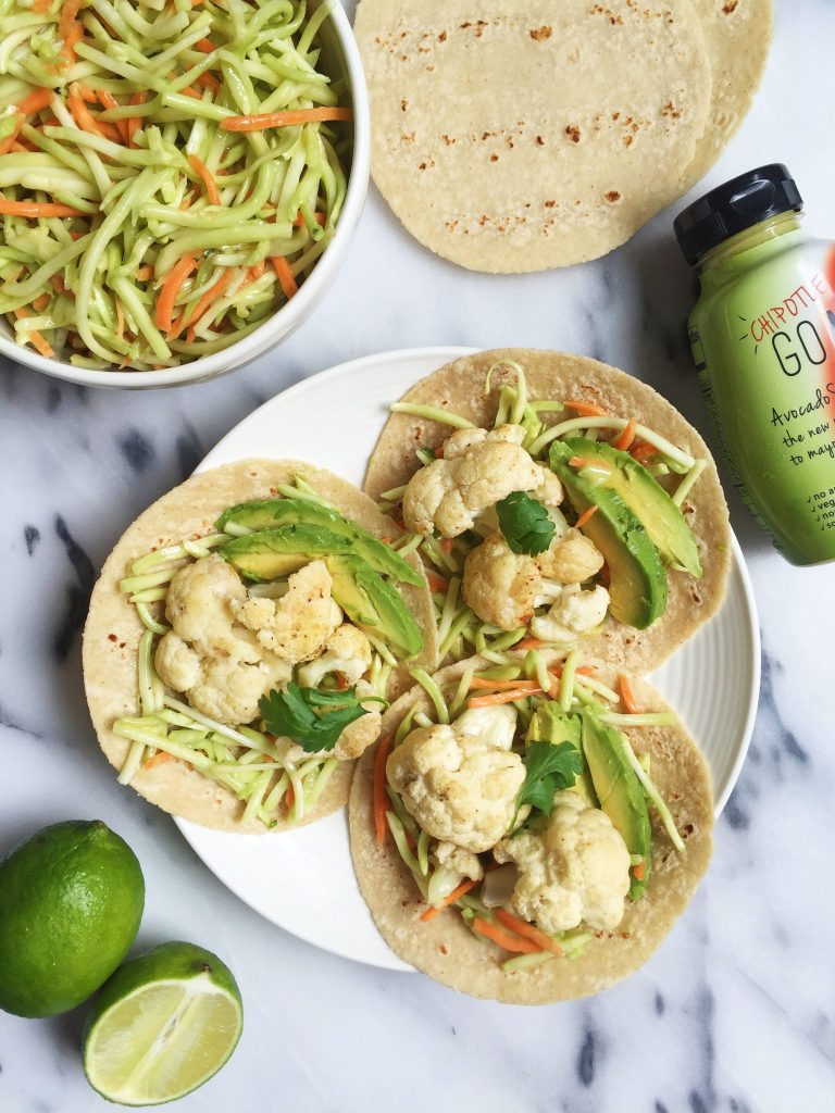 Roasted Cauliflower Tacos with Spicy Broccoli Slaw for a delicious plant-based meal