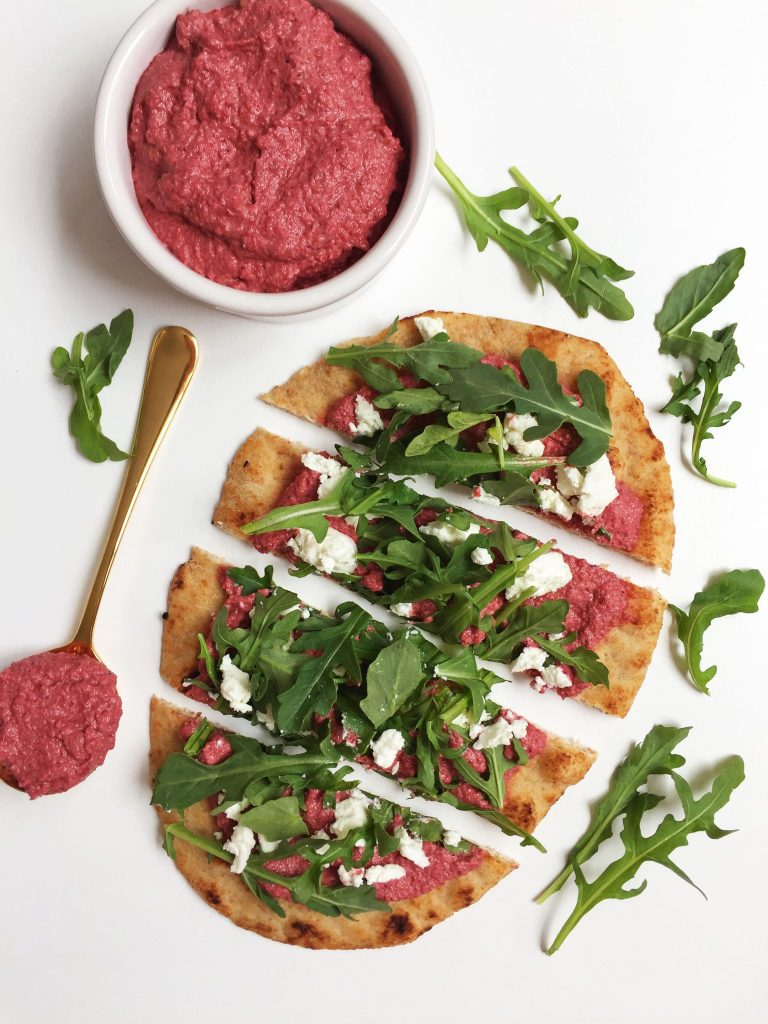 Grilled Arugula & Goat Cheese Pizza with Beet Pesto