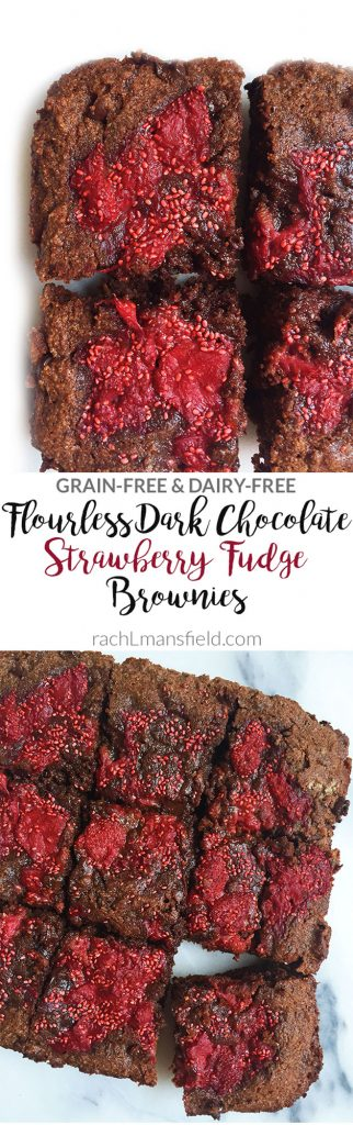 Flourless Dark Chocolate Strawberry Fudge Brownies