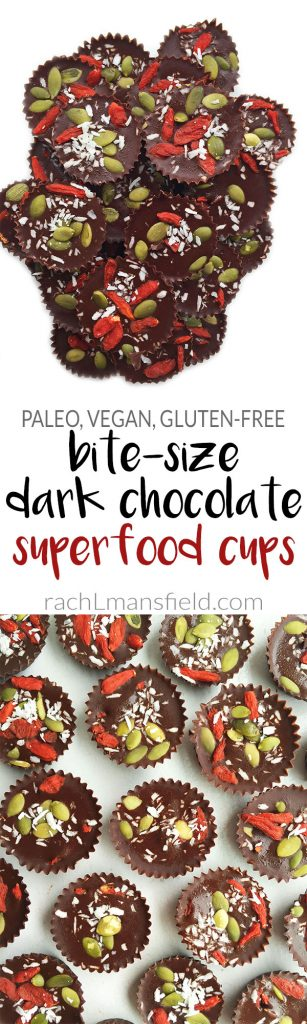 Vegan Dark Chocolate Superfood Cups packed with essential superfoods