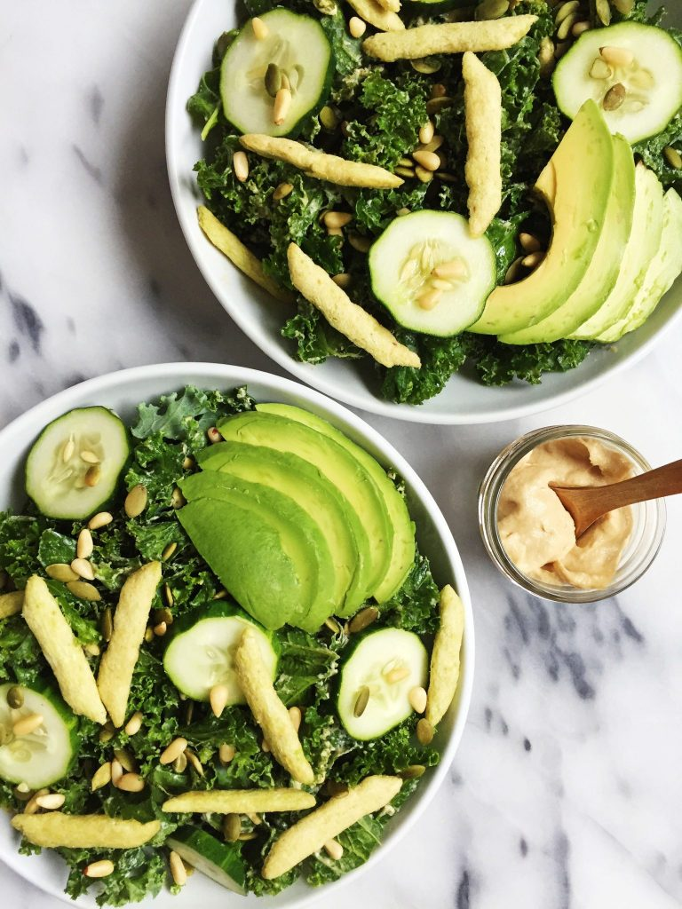 Vegan & Gluten-free Crunchy Green Goddess Salad with Tahini Dressing