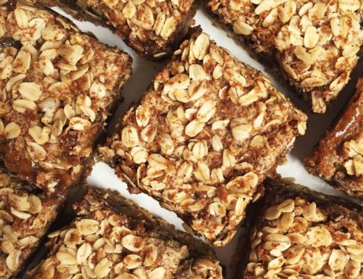 Flourless Oatmeal Cookie Carmelita Bars made vegan & refined sugar-free