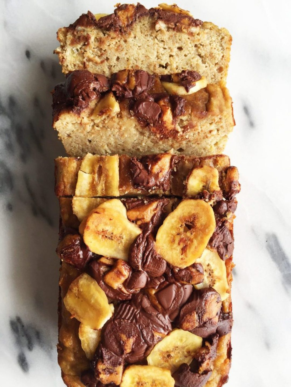 Flourless Dark Chocolate Peanut Butter Banana Bread made dairy-free and gluten-free!