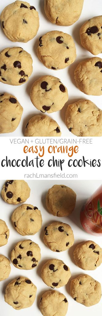 Easy Orange Chocolate Chip Cookies that are vegan, gluten & grain-free
