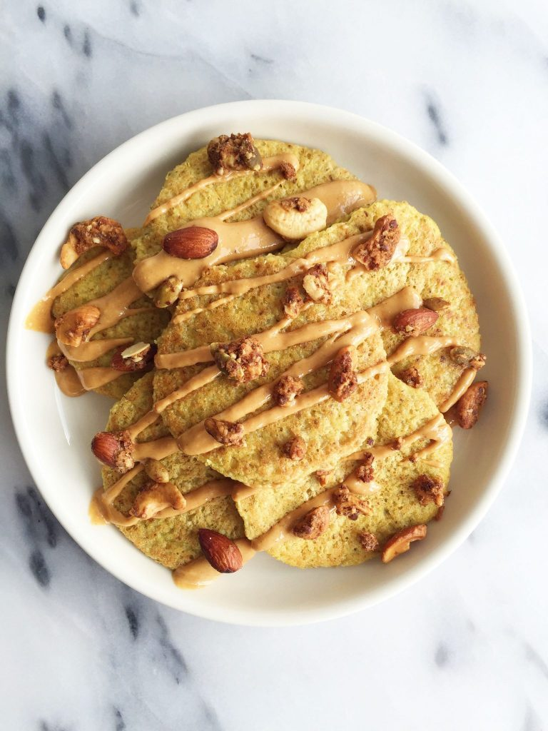 Flourless Golden Milk Pancakes with Cinnamon Maple Syrup that are vegan and gluten free-friendly