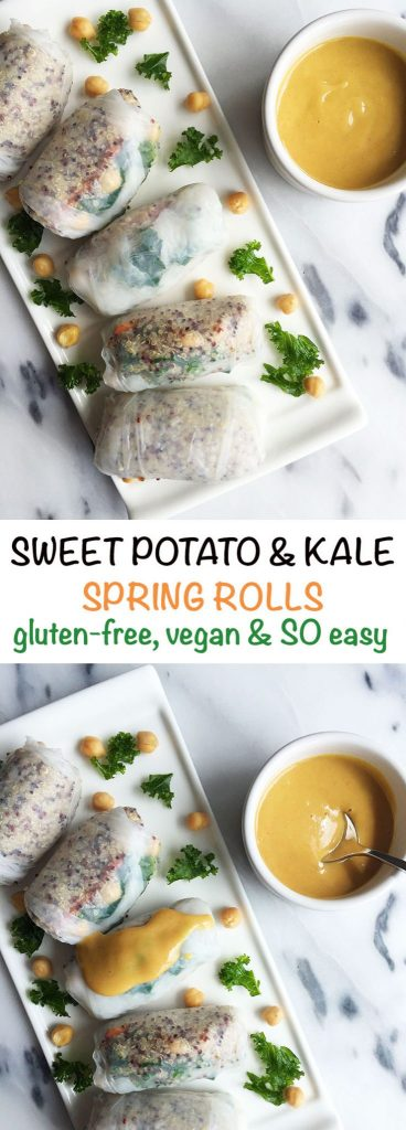 Sweet Potato & Kale Spring Rolls with Honey Mustard Dipping Sauce that are gluten free and vegan-friendly