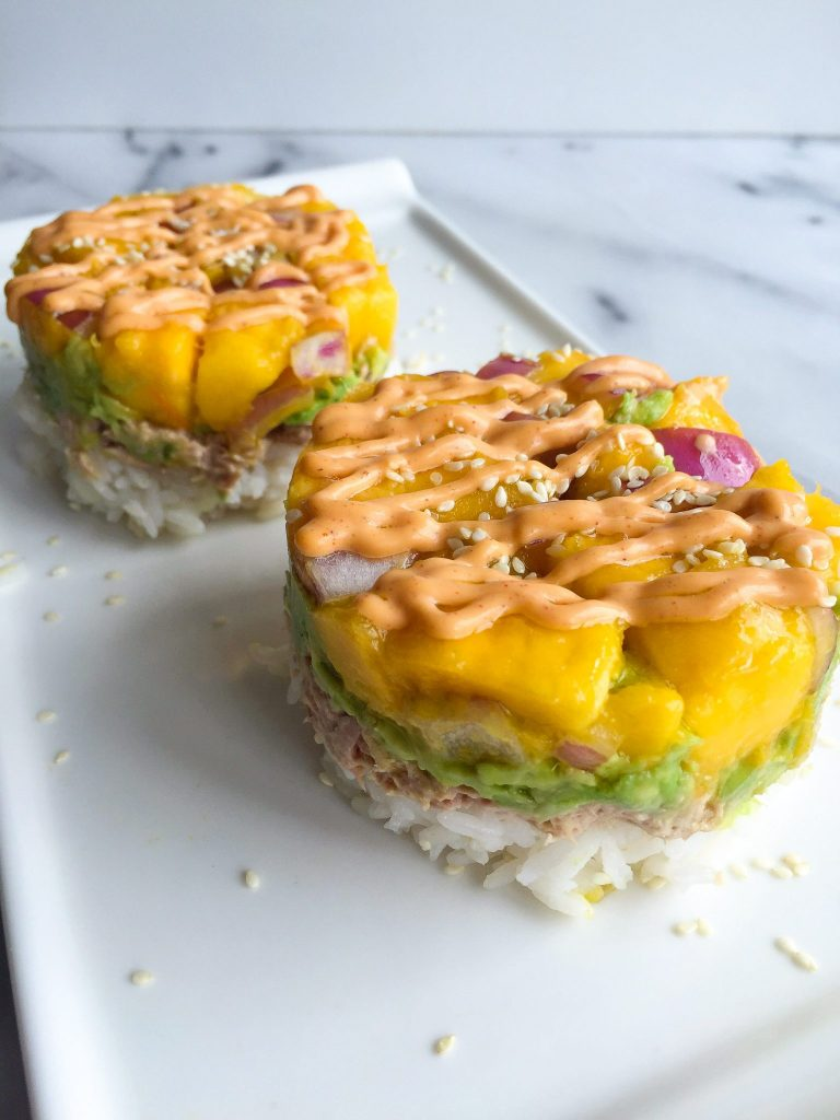 Homemade Tuna Sushi Stacks with Mango Salsa