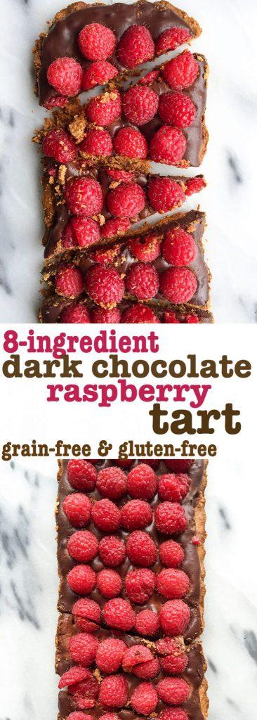 8-ingredient Dark Chocolate Raspberry Tart that is grain & dairy-free