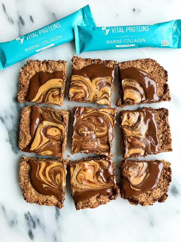 Dark Chocolate Peanut Butter Cup Snack Bars (gluten-free)