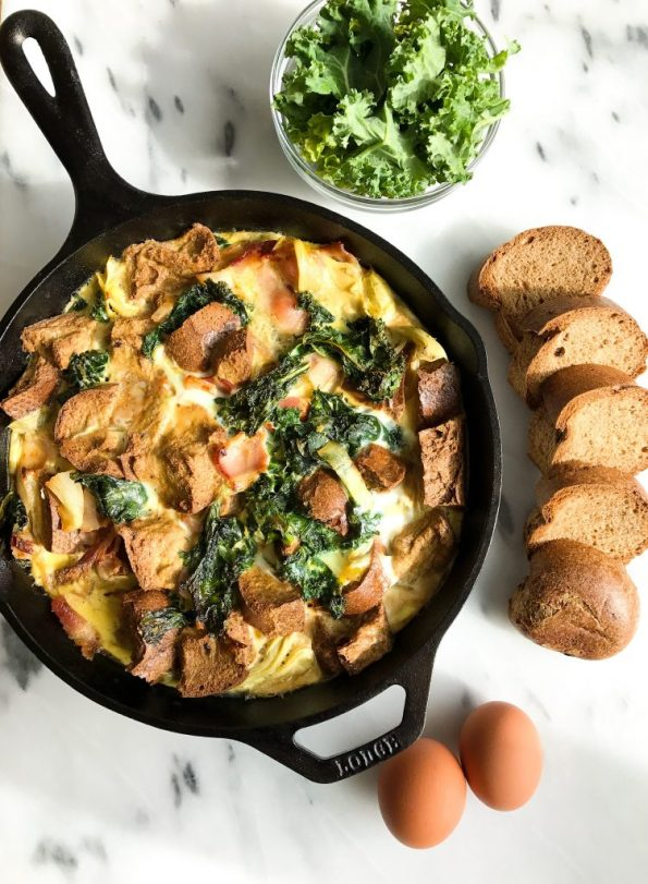 Savory Bacon & Kale Breakfast Pudding for a delicious grain & dairy-free brunch recipe