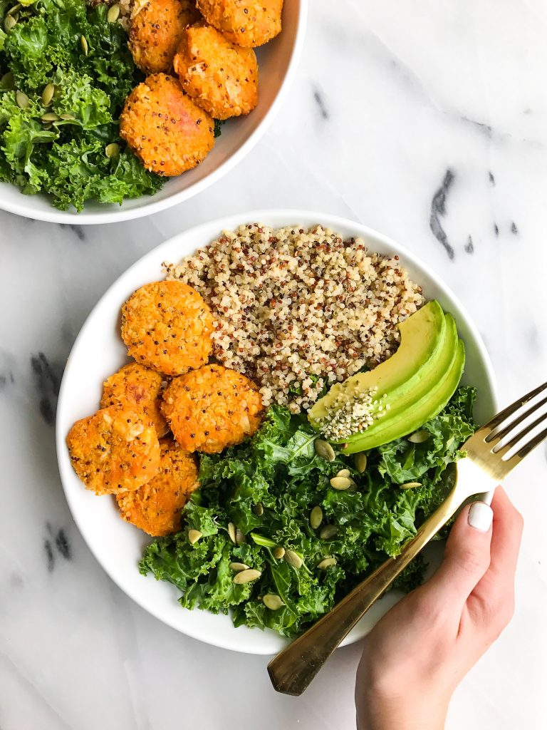 Sweet Potato Chickpea Cake Buddha Bowls for a delicious gluten-free meal!