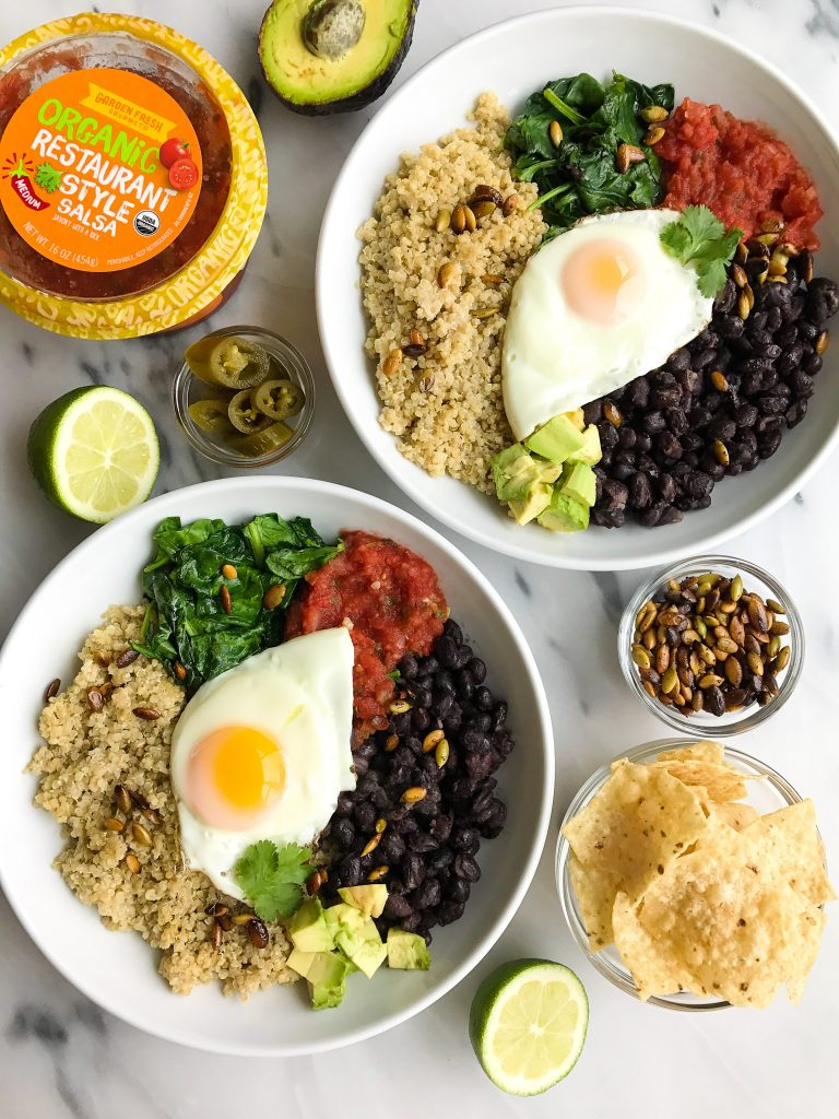 Vegetarian Taco Breakfast Bowl with Coconut Quinoa for a delicious savory breakfast recipe!