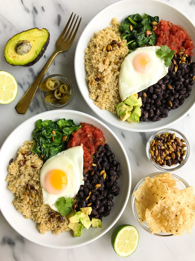 Vegetarian Taco Breakfast Bowls with Coconut Quinoa