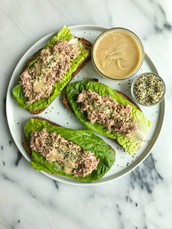 Cilantro + Hemp Seed Tuna Salad on Crispy Toast