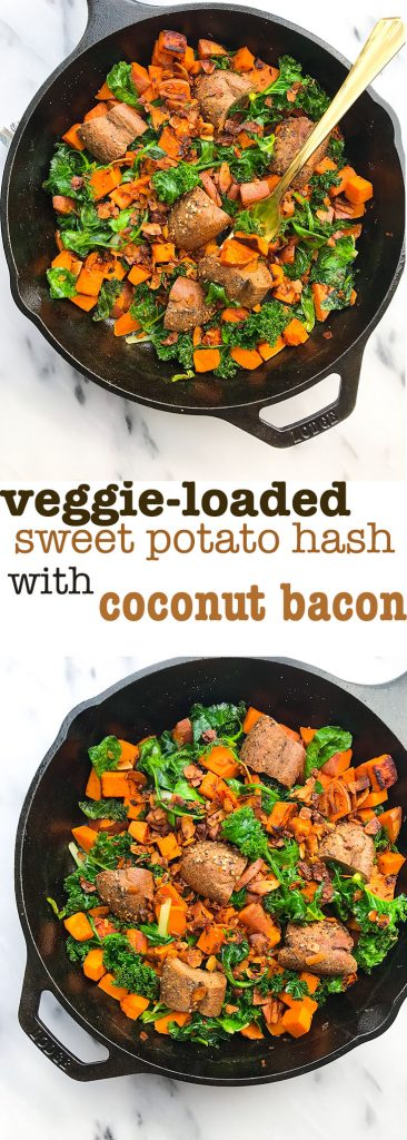 Your new favorite healthy brunch skillet, Veggie-Loaded Sweet Potato Hash with Coconut Bacon