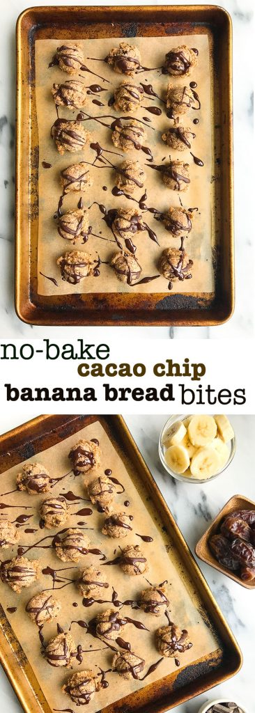 No-bake Cacao Chip Banana Bread Bites for an easy and delicious plan-based snack!