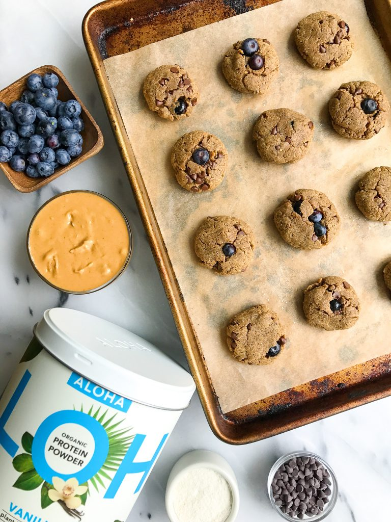 The most delicious Blueberry Chocolate Chip Breakfast Protein Cookies that are gluten & dairy-free!