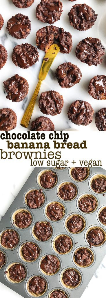 Chocolate Chip Banana Bread Brownie Bites! Vegan, grain-free and sweetened with bananas!