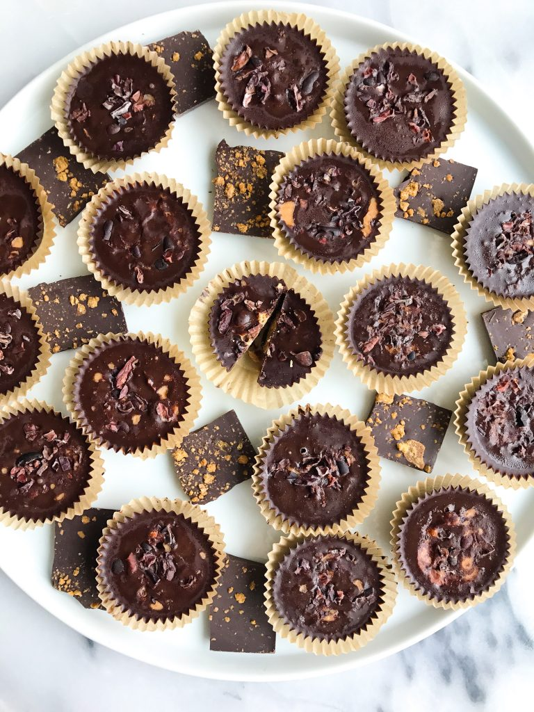 Fatty Dark Chocolate Coconut Butter Cups filled with super greens for an easy low sugar treat!