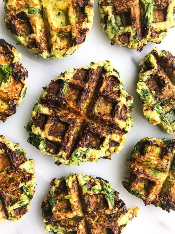 Savory Zucchini Waffle Fritters made with simple ingredients for an easy paleo recipe!