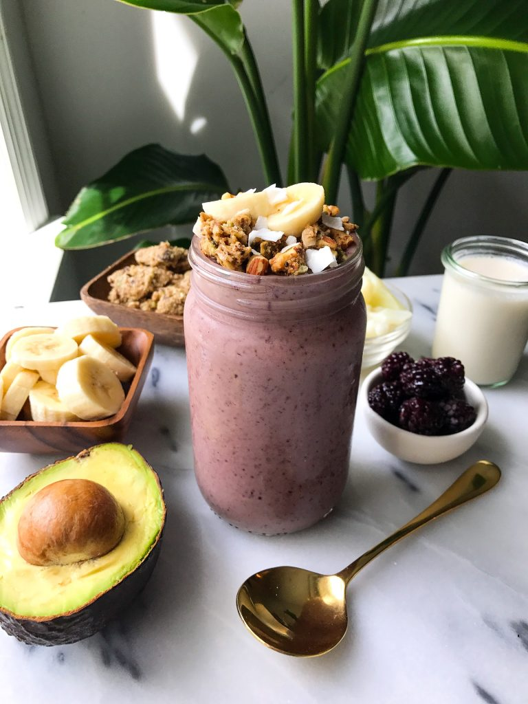 My Go-to Morning Smoothie made with deliciously healthy ingredients for an easy breakfast shake!