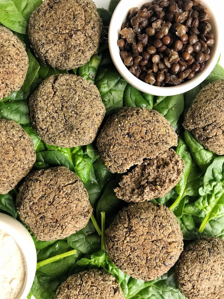 Crispy Black Lentil Falafel Bites made with 5 easy ingredients for an easy vegan and gluten-free recipe. Made with no chickpeas!