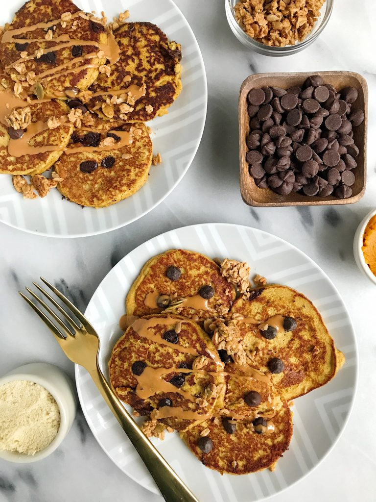 Paleo Pumpkin Chocolate Chip Protein Pancakes