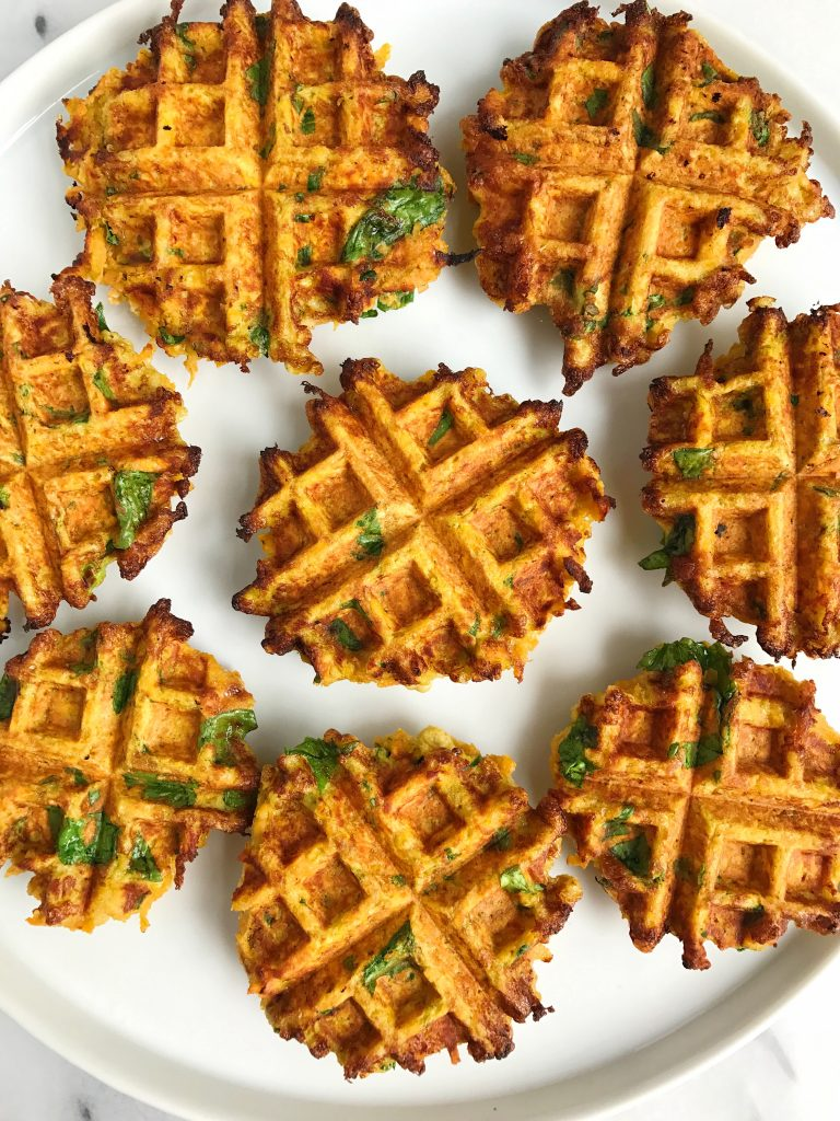 Savory Paleo Veggie Breakfast Waffles made with coconut flour for an easy veggie waffle!