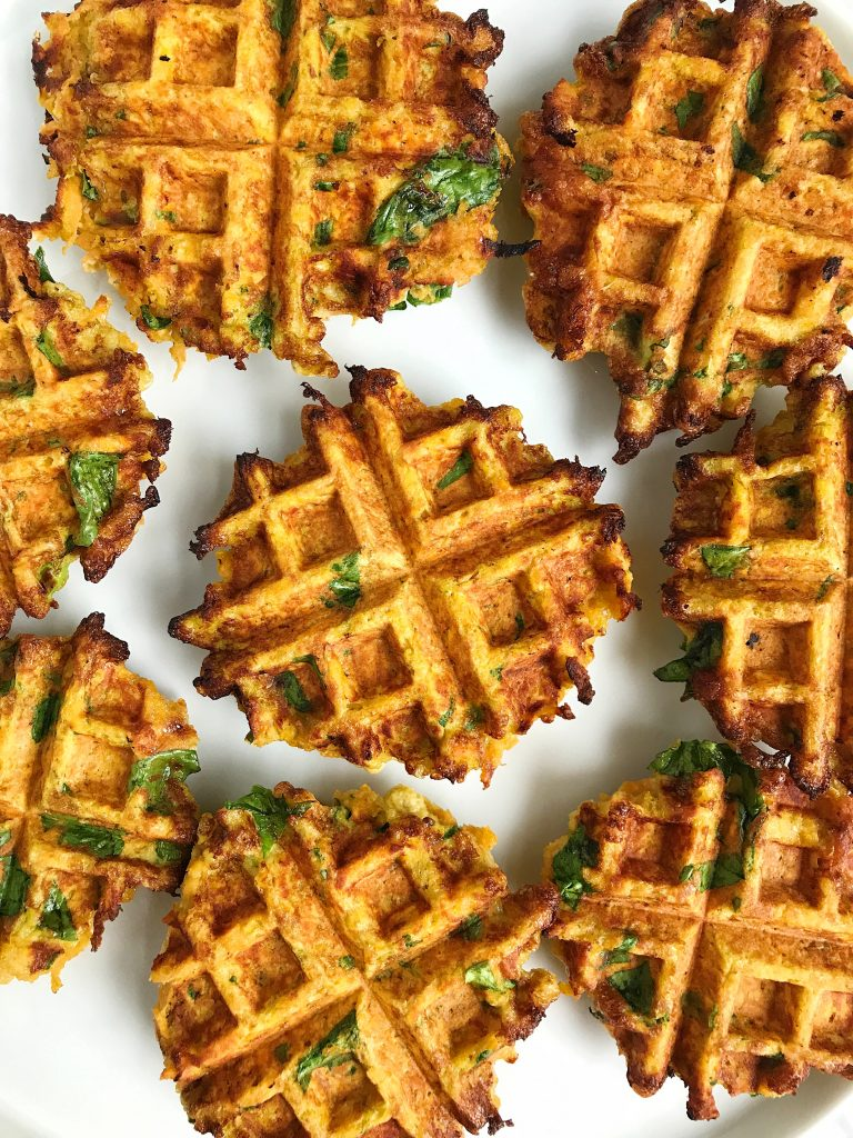 Savory Paleo Veggie Breakfast Waffles made with coconut flour for an easy veggie waffle!