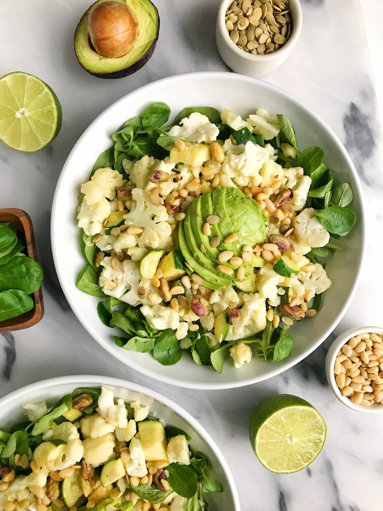 10-minute Garlicky Cauliflower Squash Bowls for an easy and delicious vegan bowl