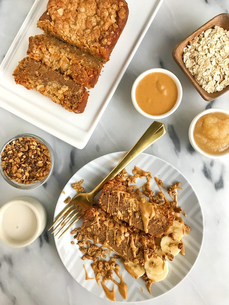 Vegan Cinnamon Coffee Cake Loaf made with oat flour for an easy and delicious breakfast loaf!