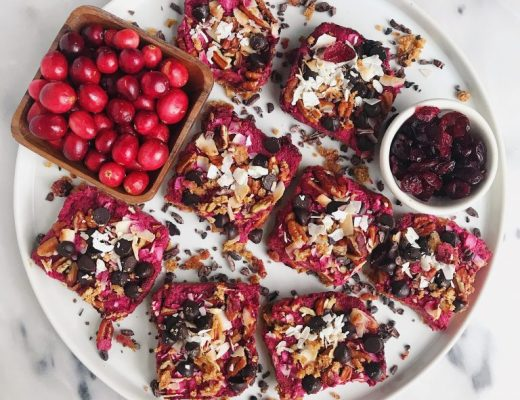 Dark Chocolate Cranberry Magic Cookie Bars that are vegan, gluten-free and lightly sweetened
