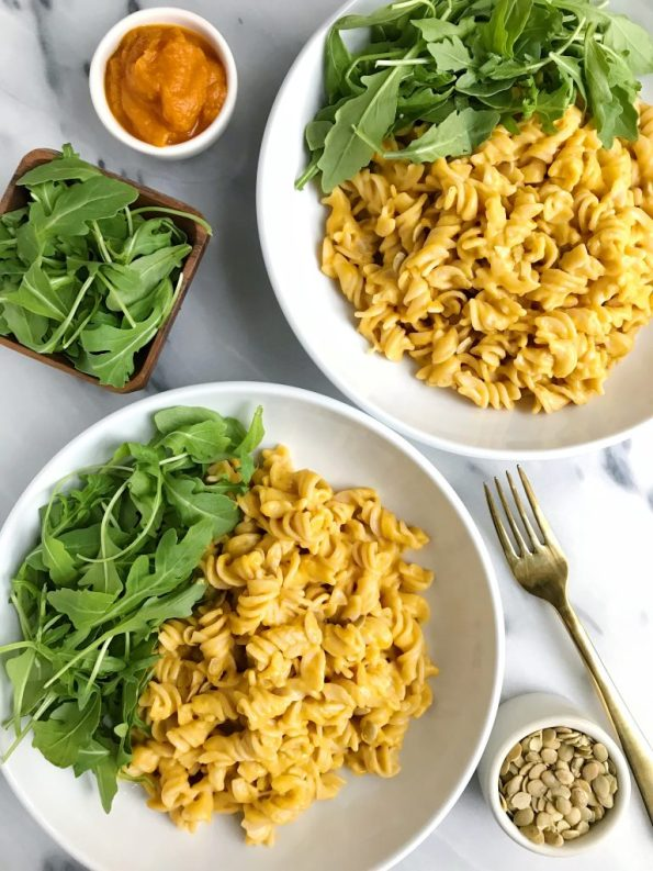 5-ingredient Creamy Squash Pasta made with vegan and gluten-free ingredients for an easy and quick meal!