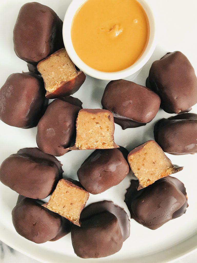 Dark Chocolate Vegan Peanut Butter Truffle Bars (gluten-free)