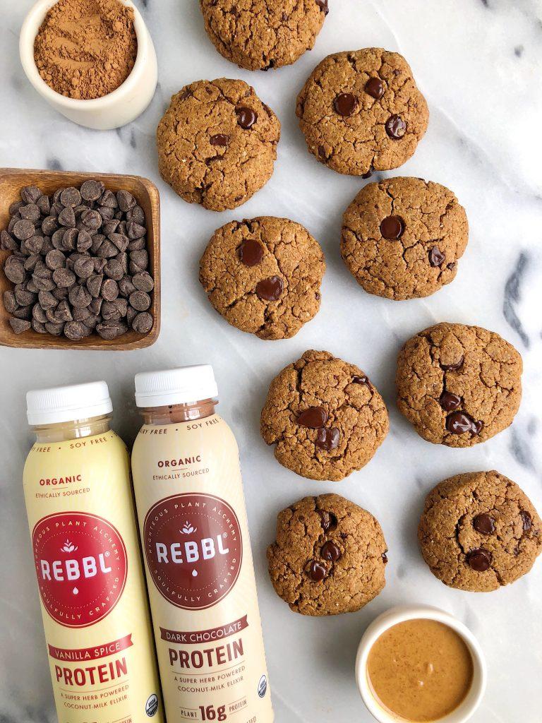 Vegan Dark Chocolate Chunk Protein Cookie Cakes