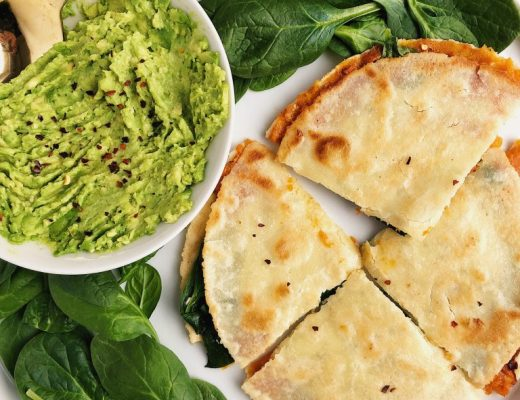 Sweet Potato + Greens Quesadilla for a quick and healthy vegan and gluten-free recipe!