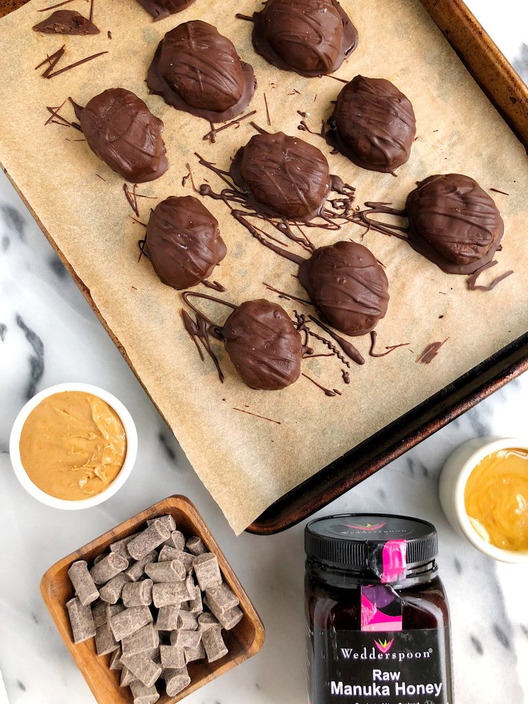 Dark Chocolate Peanut Butter Caramel Eggs made with gluten-free ingredients for a healthier take on Reese's Peanut Butter Eggs