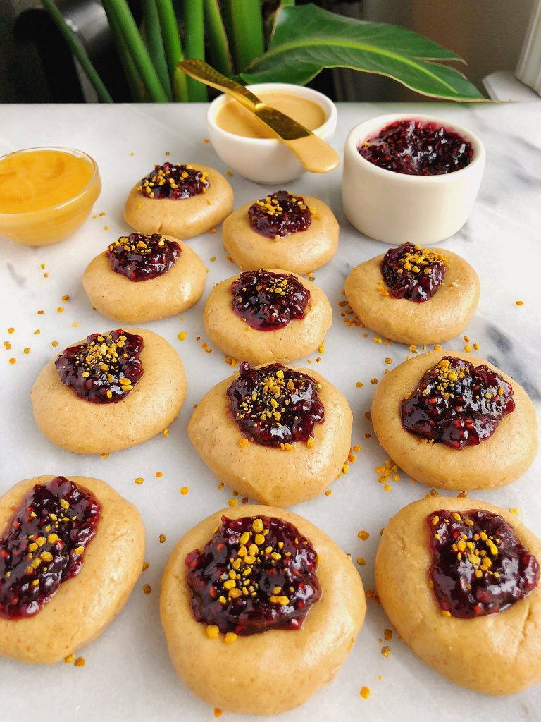 No-Bake Nut Butter & Jelly Thumbprint Cookies made with six ingredients for an easy gluten-free cookie!
