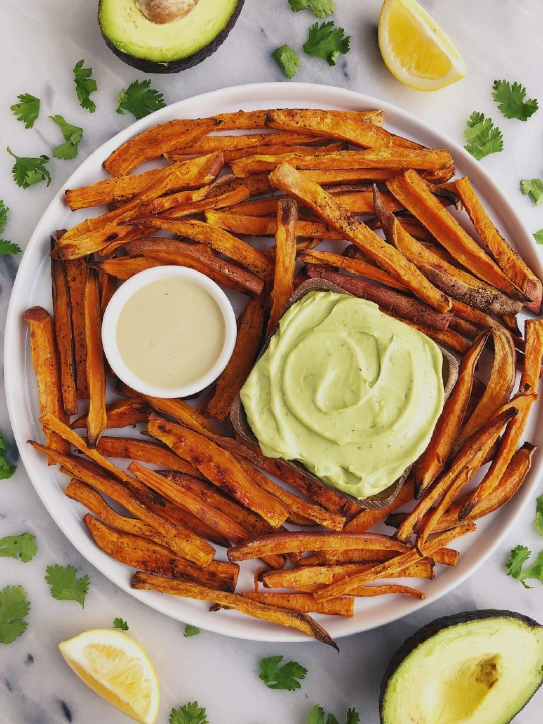 Baked Shoestring Sweet Potato Fries with Avocado Aioli for an easy and delicious gluten-free and vegan recipe!