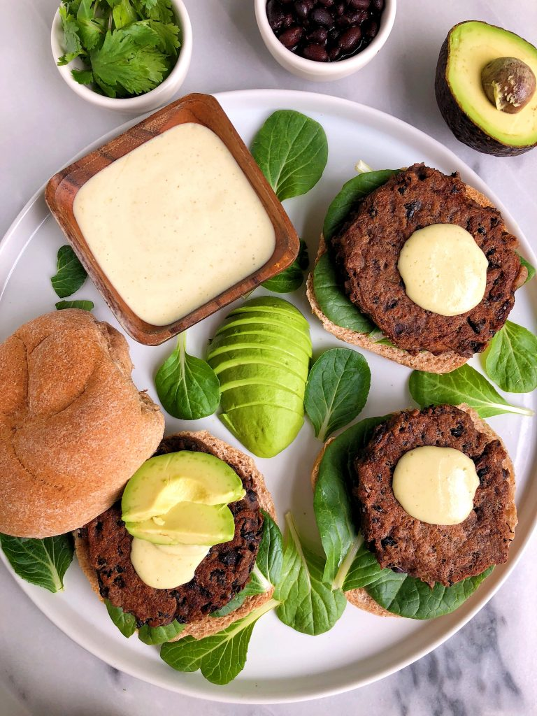 Vegan Black Bean Burgers with Spicy Aioli