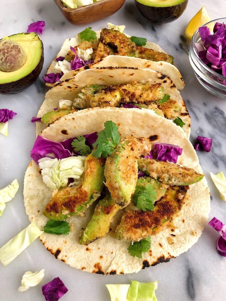 Crispy Baked Avocado Tacos for an easy vegan and gluten-free taco recipe!