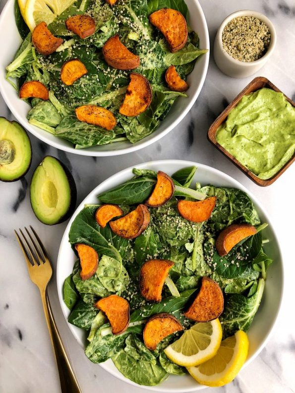 Avocado Greens Caesar Salad with Sweet Potato Croutons made with vegan and gluten-free ingredients!