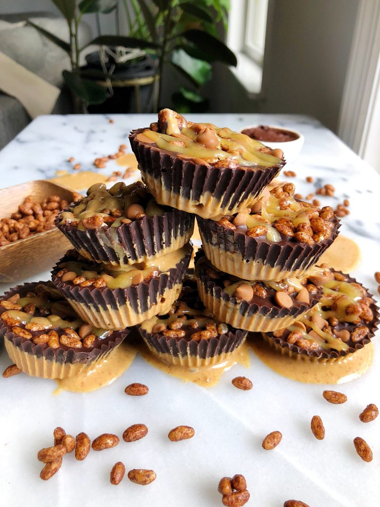 Crispy Chocolate Peanut Butter Cups made with gluten-free and dairy-free ingredients, sweetened with manuka honey!