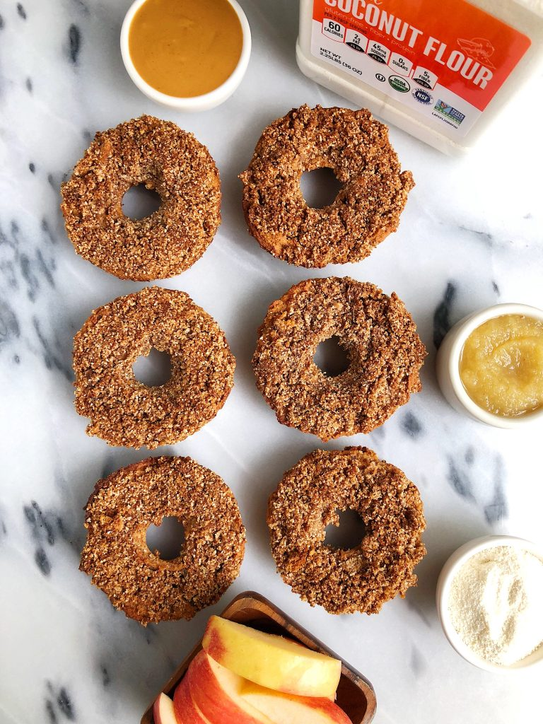Baked Paleo Apple Cider Donuts made with all grain-free, gluten-free and vegan ingredients for a delicious homemade low sugar apple donut recipe!